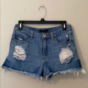 F21 High Rise Distressed Jean Shorts